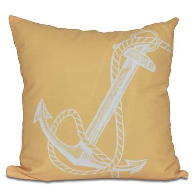 Hancock Anchored Geometric Print Throw Pillow Size: 18 H x 18 W, Color: Yellow