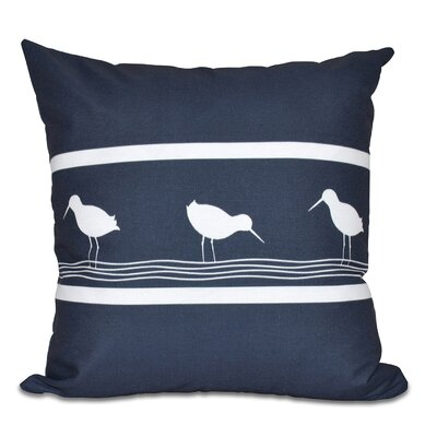Hancock Birdwalk Animal Print Throw Pillow Size: 26 H x 26 W, Color: Navy Blue