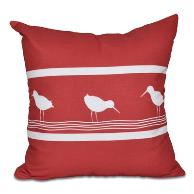Hancock Birdwalk Animal Print Throw Pillow Size: 16 H x 16 W, Color: Red