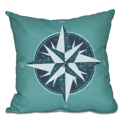 Hancock Compass Geometric Print Throw Pillow Color: Green, Size: 26 H x 26 W