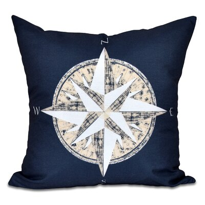 Hancock Compass Geometric Print Throw Pillow Size: 26 H x 26 W, Color: Navy Blue