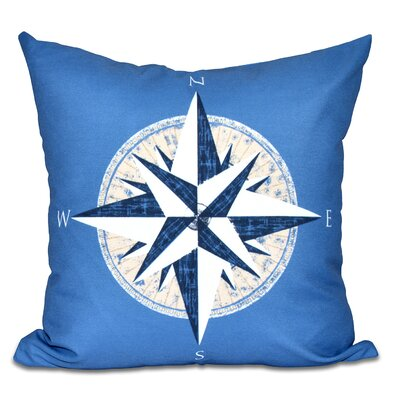 Hancock Compass Geometric Print Throw Pillow Size: 16 H x 16 W, Color: Blue