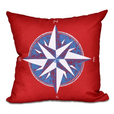 Hancock Compass Geometric Print Throw Pillow Size: 18 H x 18 W, Color: Red