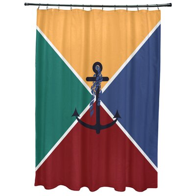 Hancock Anchor Flag Geometric Print Shower Curtain Color: Yellow