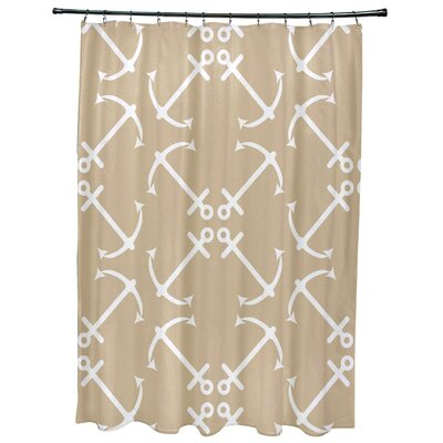 Hancock Anchors Up Geometric Print Shower Curtain Color: Taupe