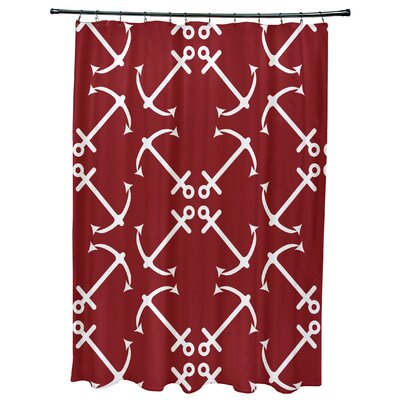 Hancock Anchors Up Geometric Print Shower Curtain Color: Red