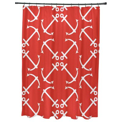 Hancock Anchors Up Geometric Print Shower Curtain Color: Orange