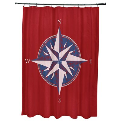 Hancock Compass Geometric Print Shower Curtain Color: Red