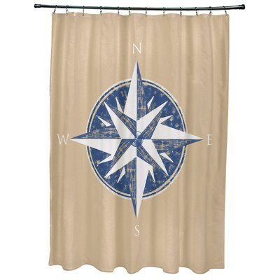 Hancock Compass Geometric Print Shower Curtain Color: Taupe