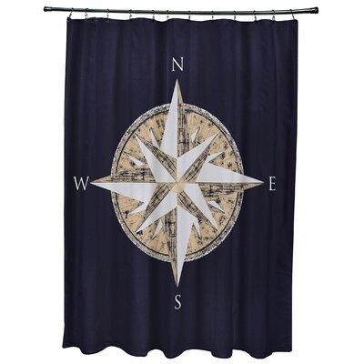Hancock Compass Geometric Print Shower Curtain Color: Navy Blue