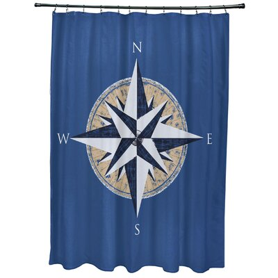 Hancock Compass Geometric Print Shower Curtain Color: Blue