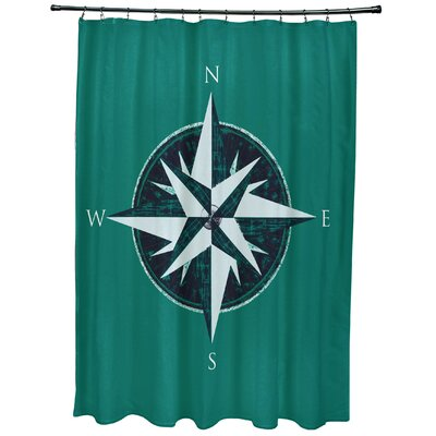 Hancock Compass Geometric Print Shower Curtain Color: Green