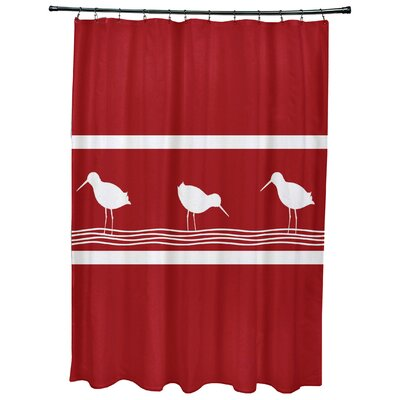 Hancock Birdwalk Animal Print Shower Curtain Color: Red