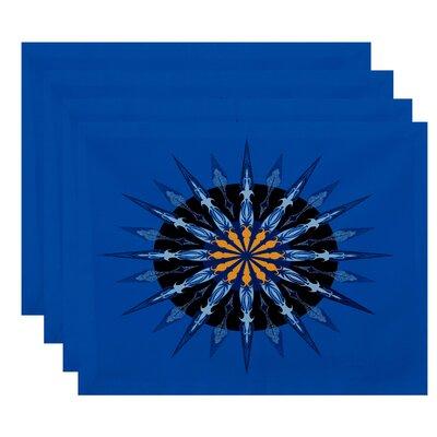Hancock Sea Wheel Geometric Print Placemat Color: Blue