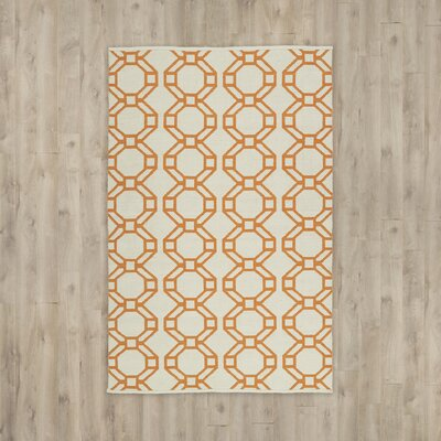 Needham Cream/Orange Indoor/Outdoor Area Rug Rug Size: 2 x 3