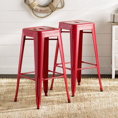 Trenton 30 Bar Stool Color: Red