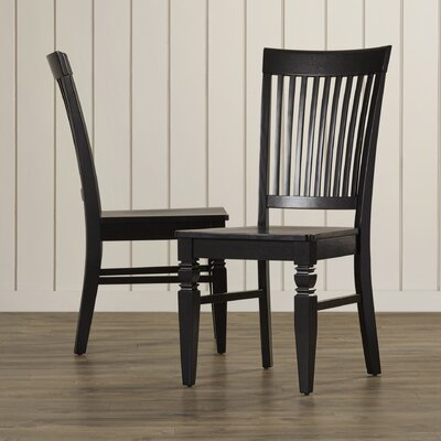 Pennington Solid Wood Dining Chair (Set of 2) Finish: Black