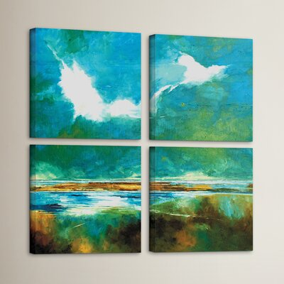 Seascape II 4 Piece Painting Print on Wrapped Canvas Set Size: 36