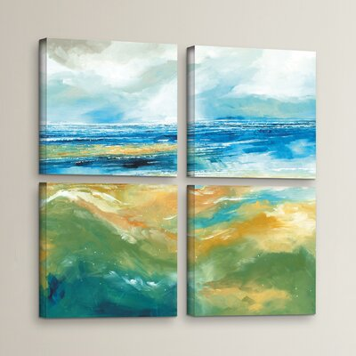 Seascape III 4 Piece Painting Print on Wrapped Canvas Set Size: 36