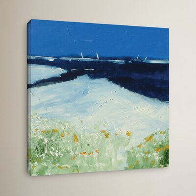 Beach with Flowers Painting Print on Canvas