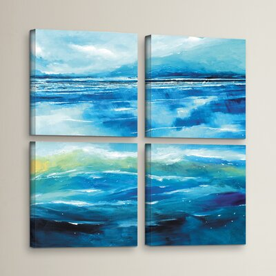Seascape V 4 Piece Painting Print on Wrapped Canvas Set Size: 36