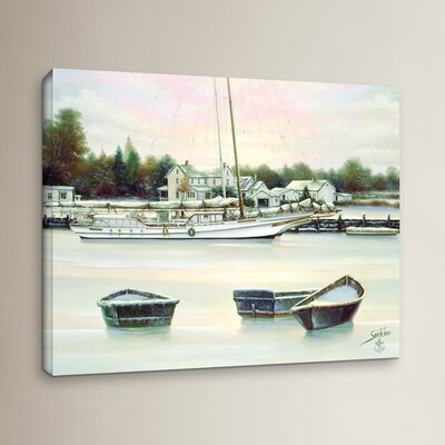 Winter Harbor Painting Print on Wrapped Canvas Size: 14