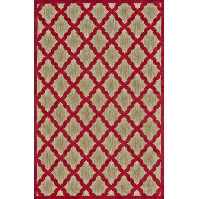 Fairlaine Tan/Red Indoor/Outdoor Area Rug Rug Size: 76 x 106