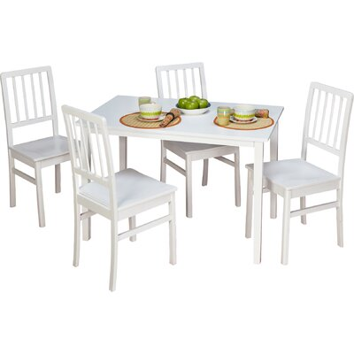 Lake Lucerne 5 Piece Dining Set Chair Color: White Wash