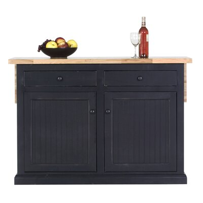Meredith Kitchen Island with Butcher Block Top Door Type: Wood, Finish: Midnight Blue