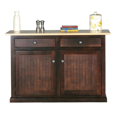 Meredith Kitchen Island with Butcher Block Top Door Type: None, Finish: Midnight Blue