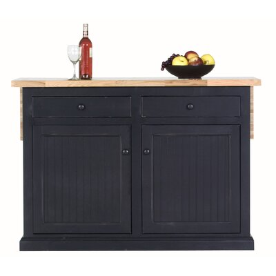 Meredith Kitchen Island with Butcher Block Top Door Type: None, Finish: Smoky Blue