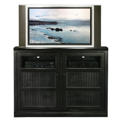 Didier Traditional Birchwood TV Stand Color: Black, Door Type: Glass