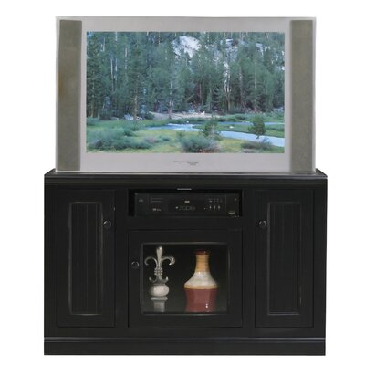 Didier 3 Doors Birchwood TV Stand Color: Black, Door Type: Glass