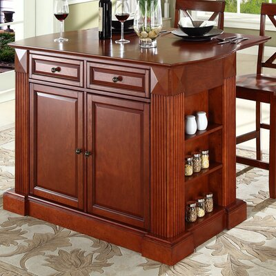 Byron Traditional 3 Piece Kitchen Island Set Base Color: Classic Cherry