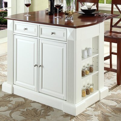 Byron Traditional 3 Piece Kitchen Island Set Base Finish: White