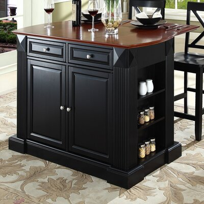 Byron Traditional 3 Piece Kitchen Island Set Base Finish: Black