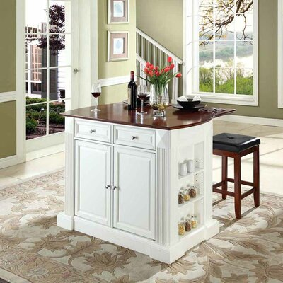 Byron Traditional Kitchen Island with Cherry Top Base Finish: White