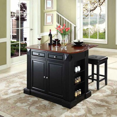 Byron Traditional Kitchen Island with Cherry Top Base Finish: Black