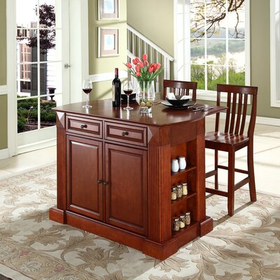 Byron 3 Piece Kitchen Island Set Base Color: Classic Cherry