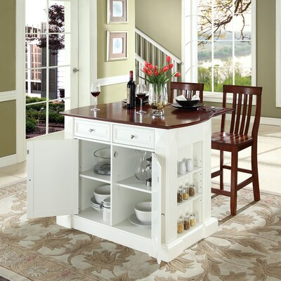 Byron 3 Piece Kitchen Island Set Base Color: White