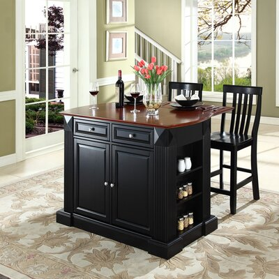 Byron 3 Piece Kitchen Island Set Base Finish: Black