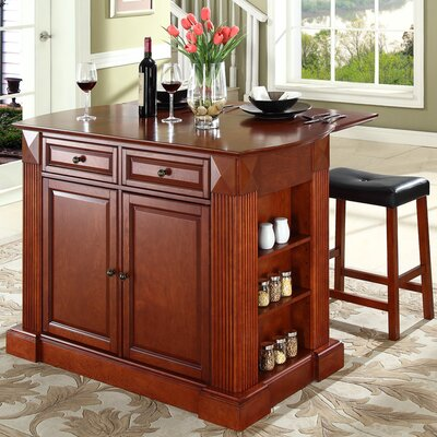 Plumeria Kitchen Island with Cherry Top Base Finish: Classic Cherry