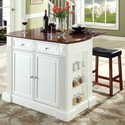 Byron Kitchen Island with Cherry Top and Saddle Stools Base Color: White