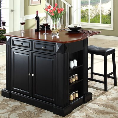 Byron Kitchen Island with Cherry Top and Saddle Stools Base Color: Black