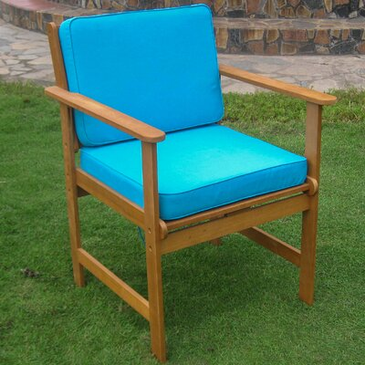 Sabbattus Gulf Port Patio Chair with Cushion Fabric: Aqua Blue