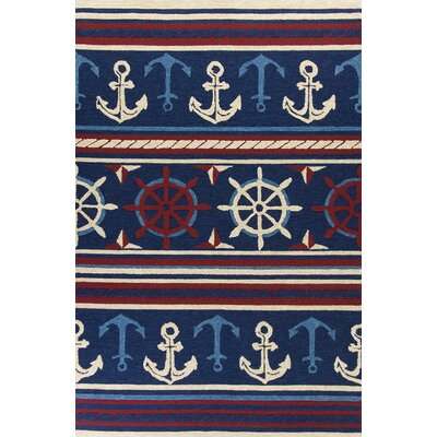 Fairbanks Hand-Hooked Navy Indoor/Outdoor Area Rug Rug Size: 76 x 96