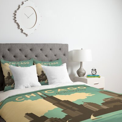 Patterson Chicago Duvet Cover Size: Twin, Fabric: Lightweight