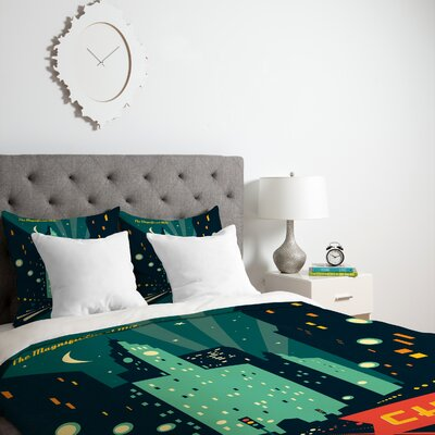 Patterson Chicago Mag Mile Duvet Cover Size: Queen, Fabric: Lightweight