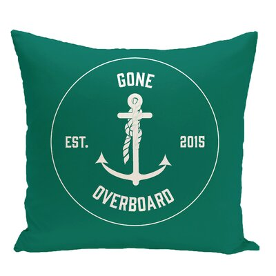 Hancock Gone Overboard Word Throw Pillow Size: 16 H x 16 W, Color: Green