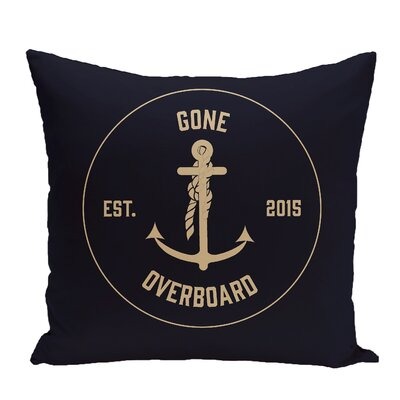 Hancock Gone Overboard Word Throw Pillow Size: 20 H x 20 W, Color: Navy Blue